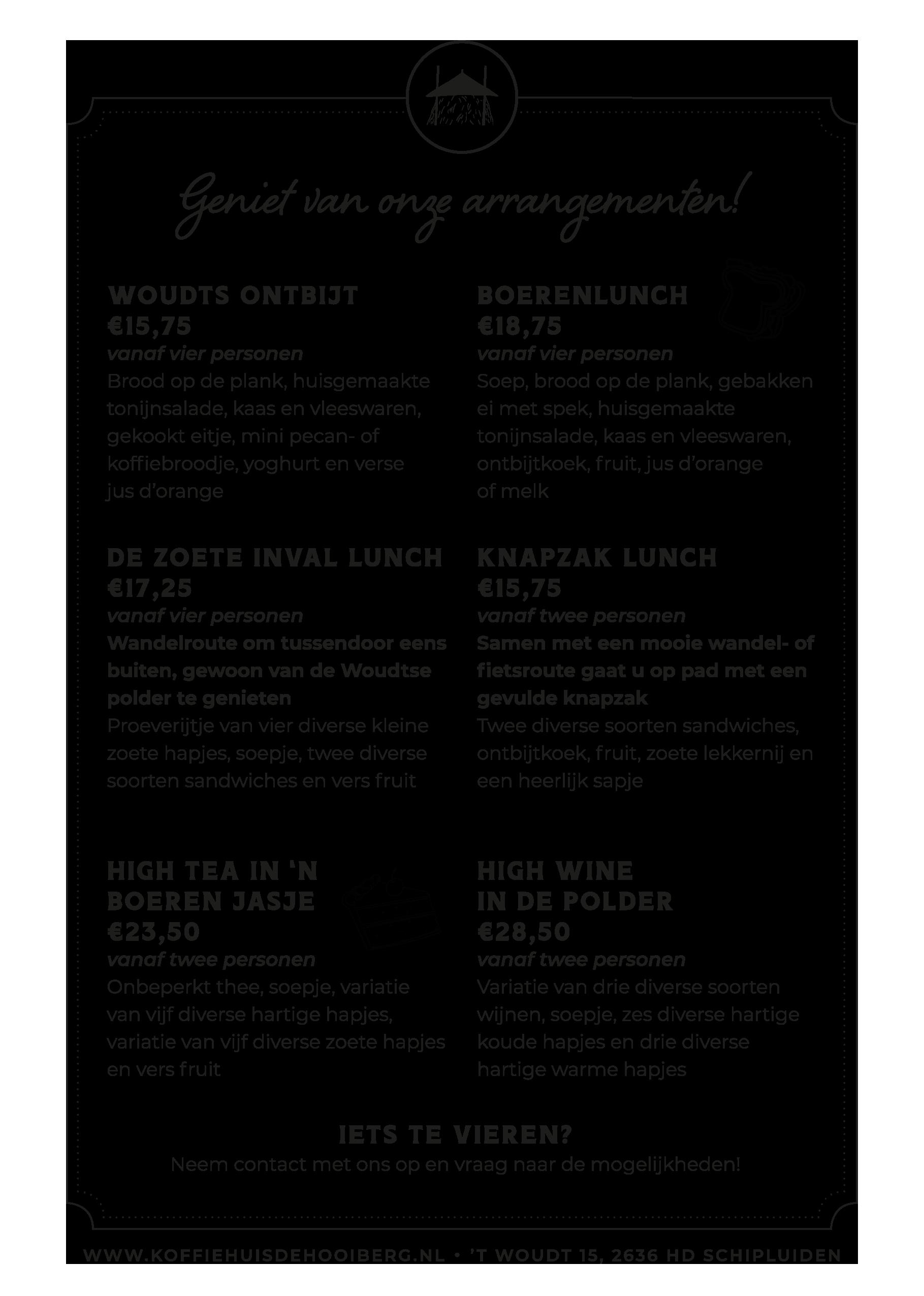 Arrangementen koffiehuis de hooiberg