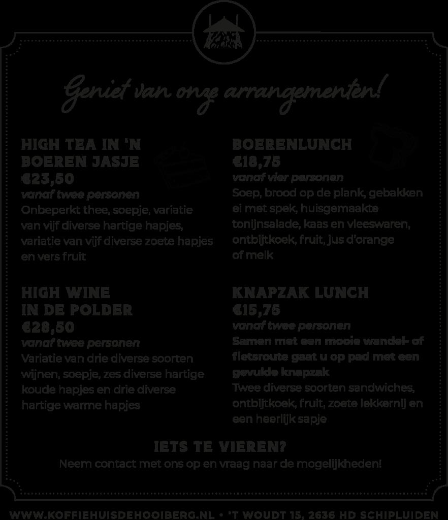 arrangementen koffiehuis de hooiberg coronatijd